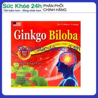 [CHÍNH HÃNG] - Hoạt huyết dưỡng não Ginkgo Biloba Extract 240mg giảm đau đầu, hoa mắt, chóng mặt, rối loạn tiền đình - Hộp đỏ 100 viên HSD 2024 , sức khỏe 24h thumbnail