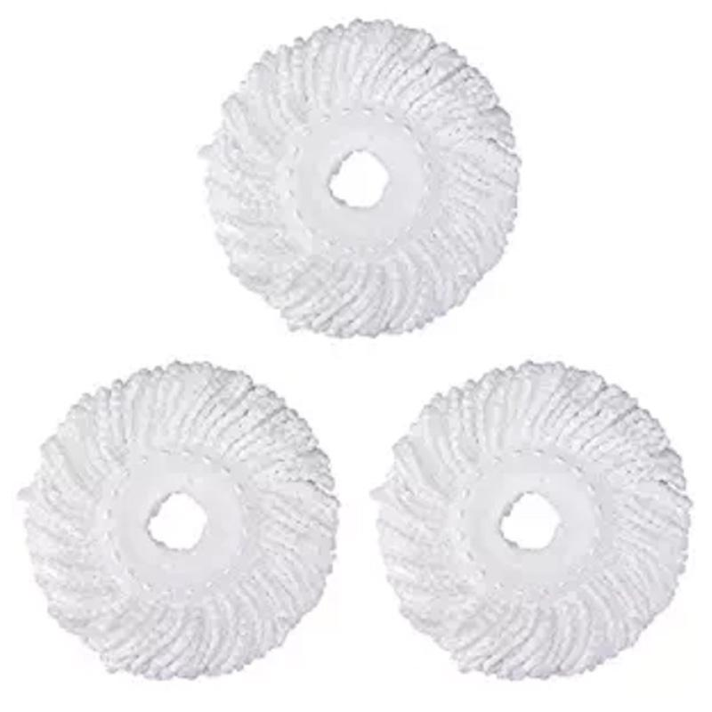 3 Replacement Mop Micro-Head Refill Hurricane for 360° Spin Magic Mop-Microfiber Replacement Mop Head-Round Shape Standard Size (White-3 Pack)