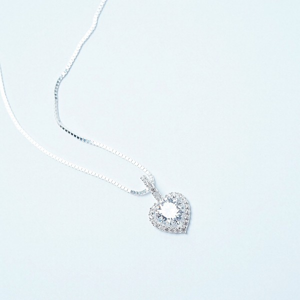QMJ Dây chuyền bạc tim xinh ý  nạm đá tinh tế thiết kế độc lạ, thích hợp với cô nàng thích sự độc và lạ trang sức thời trang nữ đẹp - QKL1490