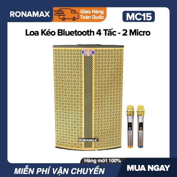 Mua Loa Kéo Karaoke Di Động Bluetooth Ronamax MC15 (600W) - 4.5 Tấc , 2 Mic Đi Kèm, Vỏ Gỗ, Lưới Vàng hoặc Đen - Bảo Hành 6 Tháng.bluetooth.karaoke.nghe nhạc.kẹo kéo.mini.bass mạnh.giá rẻ.công suất lớn.led 7 màu.gia đình.cỡ lớn