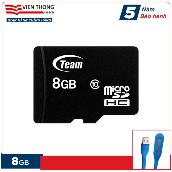 Thẻ nhớ 8GB micro SDHC Team Class 10 (Đen) tặng đèn LED cổng USB - Hãng phân phối chính thức (PT)