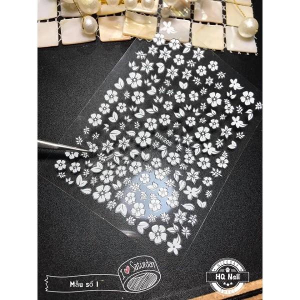 Stick hoa nổi 3D trắng cực xinh TREND HOT trang trí móng