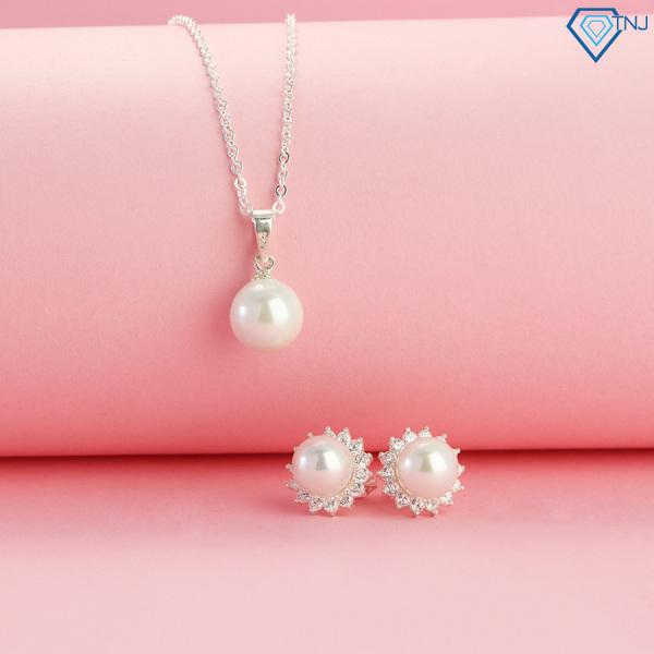 Quà tặng sinh nhật mẹ - Bộ trang sức bạc ngọc trai cao cấp TSB0013 - Trang Sức TNJ