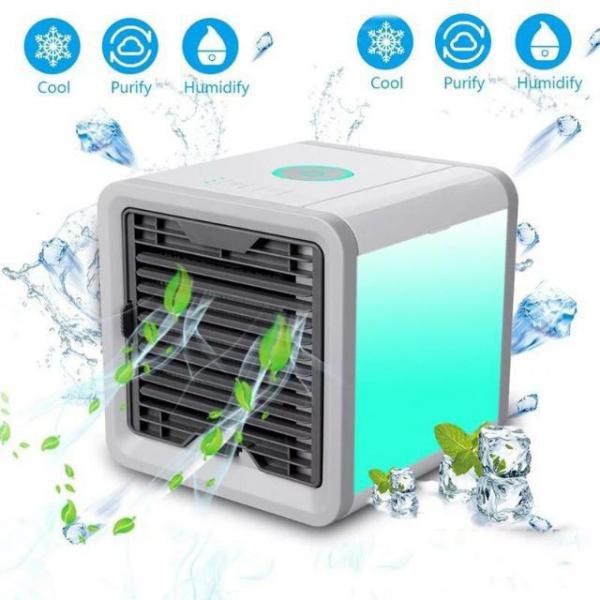 Điều hòa mini - quạt điều hòa hơi nước để bàn - máy lạnh mini giá rẻ để bàn có khay đựng nước đèn led 7 màu tùy chỉnh 01-quạt sạc tích điện loại lớn-quạt mini cầm tay-quat tich dien-quat mini sac pin-QTD07LED