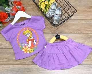 Bộ cotton chân váy 4 chiều bé gái 8-22kg ( váy có lớp quần lót bên trong)