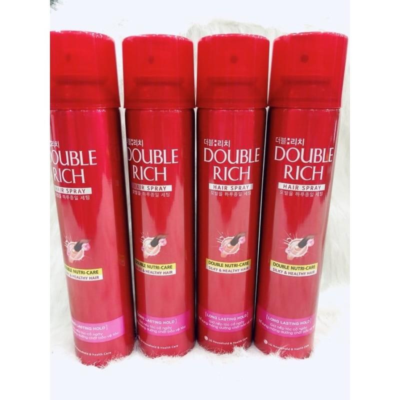 Keo xịt giữ nếp tóc Double Rich Hair Spray 170ml, giàu dưỡng chất, vừa dưỡng tóc vừa giữ nếp tóc được cố định, không bị rối bù, bảo đảm độ sống động tự nhiên giá rẻ