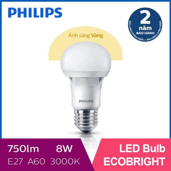 Bóng đèn Philips LED Ecobright 8W 3000K E27 A60 (Ánh sáng vàng)
