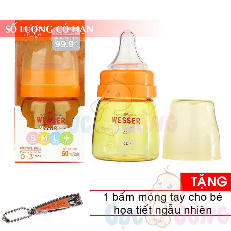 Bình sữa Wesser Nano Silver cổ thường (60ml/140ml/250ml) Tặng 1...