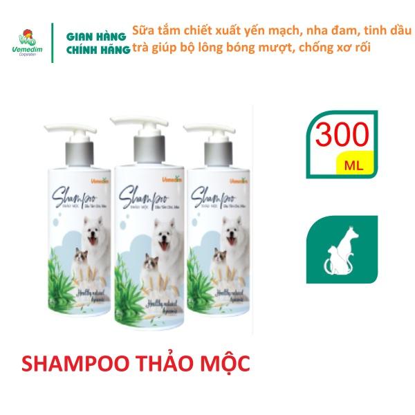 Vemedim Shampoo thảo mộc, sữa tắm chó, mèo với chiết xuất yến mạch, nha đam, tinh dầu trà giúp bộ lông bóng mượt, chống xơ rối, chai 300ml