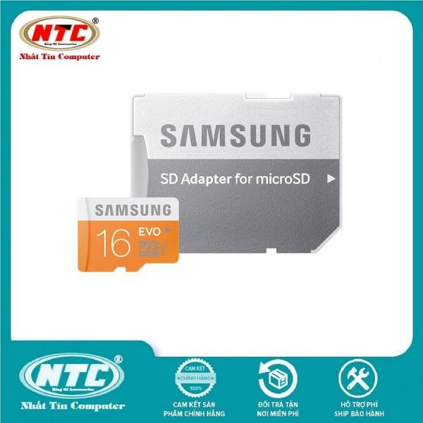 Thẻ Nhớ MicroSDHC Samsung Evo 16gb UHS-I U1 80MB/s kèm Adapter (Cam) - Nhất Tín Computer