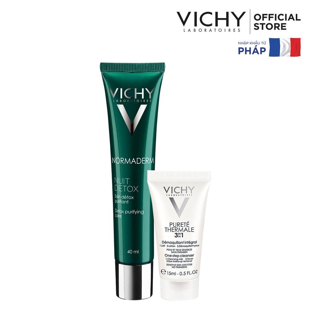Bộ Gel thải độc, giảm dầu & se khít lỗ chân lông Vichy Normaderm Night Detox 40ml & Sữa rửa mặt tẩy trang 3 trong 1 15ml nhập khẩu