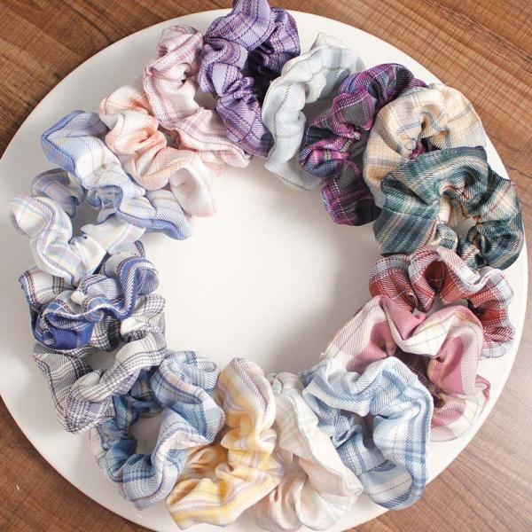 Cột Tóc Vải Scrunchies JK Họa Tiết Caro Vintage Hàn Quốc, Dây Buộc Tóc Scrunchies Cứng CT7 giá rẻ