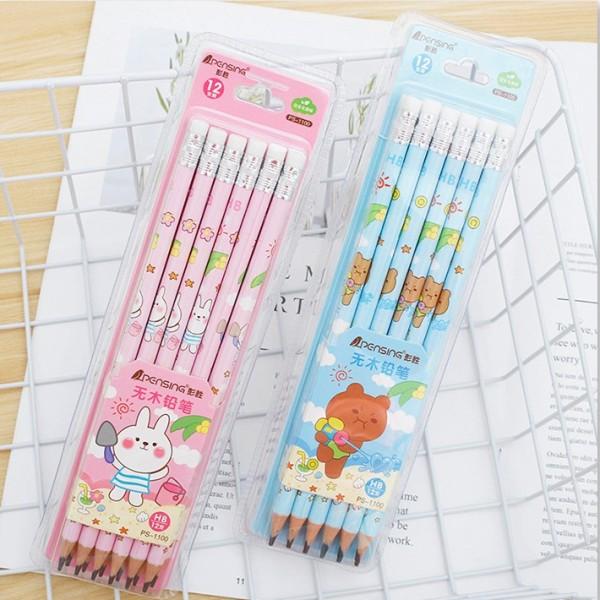 Bộ bút chì học sinh HB hình gấu kute dễ thương cho con trai con gái lalunavn