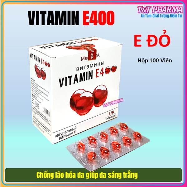 [Hộp 100 viên]  Viên Uống Đẹp Da Vitamin E đỏ  4000mcg, Aloe vera 500mg Giúp sáng mịn da, chống lão hóa -