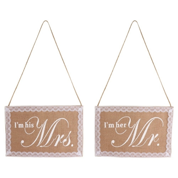 Mr. & Mrs. Wedding Chair Sign Rustic Burlap Lace Chair Banner Set DIY Chair Decoration for Wedding Party Supplies
