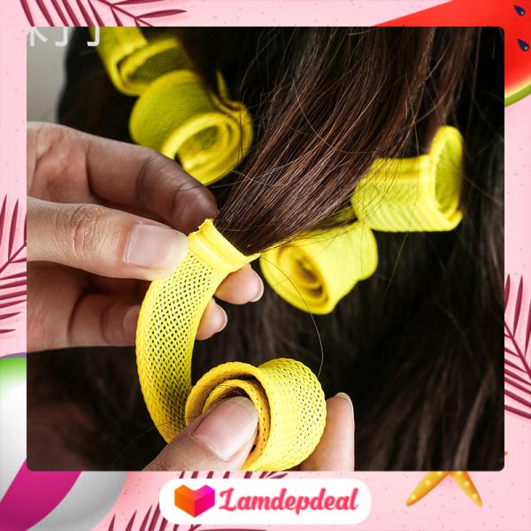 ♥ Lamdepdeal - Bộ tạo kiểu tóc xoăn ốc sên 18 ống - Lô uốn tóc không dùng nhiệt - Lô cuốn tóc tạo kiểu tóc xoăn gợn sóng chuẩn - Dụng cụ làm tóc