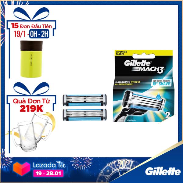 [19-28.01 Tặng Set 2 ly bia Tết đơn Gillette từ 219k] Lưỡi dao cạo râu Gillette Mach3 Classic cổ điển ( 2 lưỡi/vỉ )