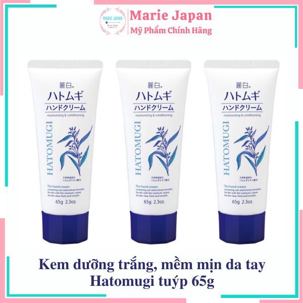 [HCM]Kem dưỡng trắng mềm mịn da tay Hatomugi Moisturizing & Conditioning The Hand Cream 65g Nhật Bản