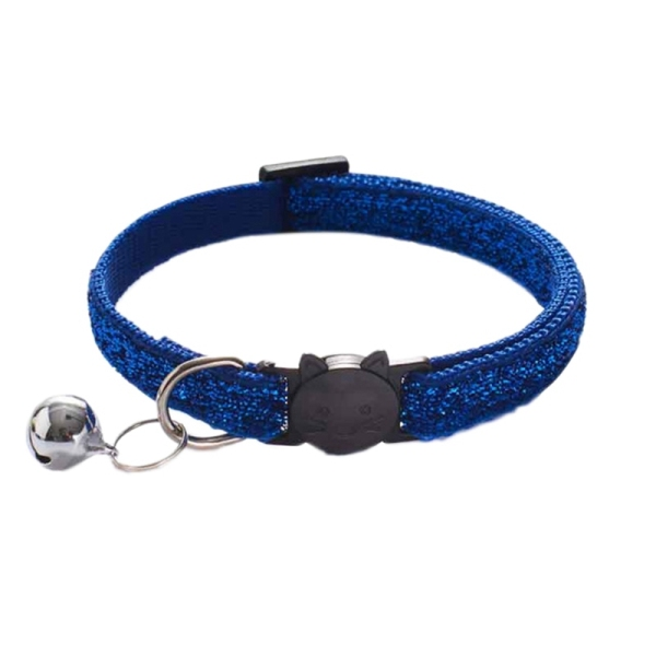10Pcs Fashion Frosted Cat Collar Adjustable Shine Small Pets Cats Collars with Bell Nylon Strap Accessories