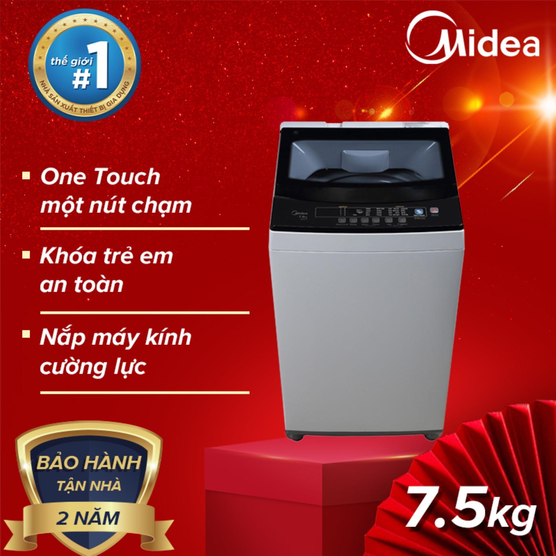 Máy Giặt cửa trên lồng đứng MIDEA 7.5 Kg MAN-7507 - Bảo hành 24 tháng tại nhà, Hàng Phân Phối Chính Hãng