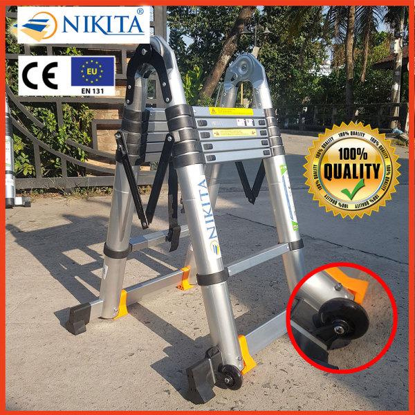 Thang Rút Nhôm Đa Năng 3 Mét 8 Có Bánh Xe - Tiêu chuẩn Châu Âu - Chính hãng NIKITA - AID38