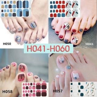 [Thu thập mã giảm thêm 30%] H041-h060 nail wraps set dán móng chân 22 miếng nhiều mẫu cam kết hàng đúng mô tả chất lượng đảm bảo an toàn đến sức khỏe người sử dụng thumbnail