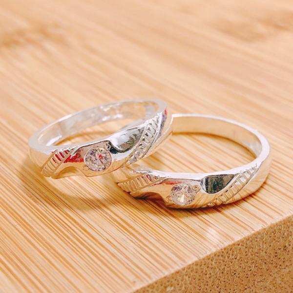 Nhẫn cặp, nhẫn đôi bạc ta gắn đá hợp thời trang, hàng làm kĩ - Trang sức TNJ Cam kết Bạc Chuẩn sáng đẹp, bền màu, sản phẩm giống ảnh, chất lượng như mô tả