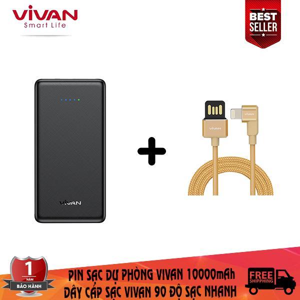 Giá Combo sạc dự phòng vivan 10000mAh + dây cáp sạc lighnting vivan tích hợp sạc nhanh thiết kế chữ L 90 độ chuyên dụng chơi game ( bảo hành 1 đổi 1 ) - CB5