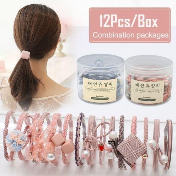 Giá bán Dây Buộc Tóc 1 Hộp 12 Kiểu Hàn Quốc (SP000487)