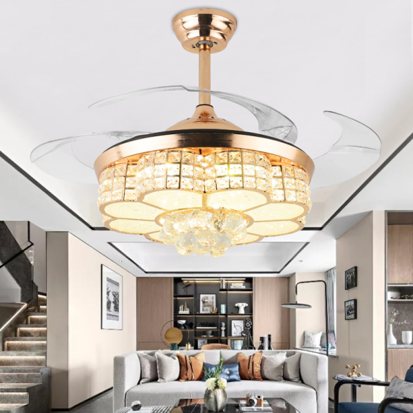 Đèn quạt trần pha lê cao cấp trang trí phòng khách phòng ngủ, cánh cụp cánh xoè đơn giản hiện đại QT7051