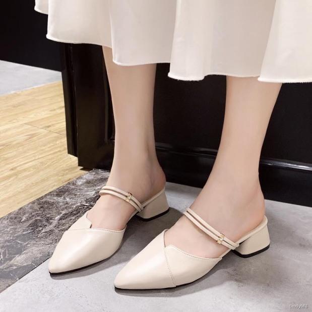 giày cao gót 2p mũi nhọn 2 quai ngang siêu xinhhh kèm clip thật có thể đi được 2 kiểu giá rẻ