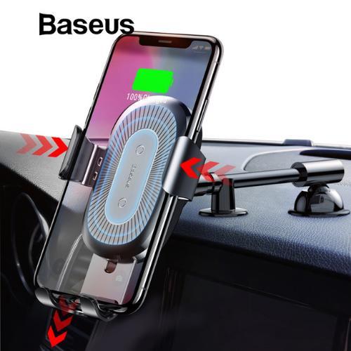 Giá Đế sạc nhanh không dây trên ô tô hãng Baseus công xuất 10W thông minh kiêm  chuẩn Qi cho iphone X , iphone 8,Samsung S9, Note8 - Phân phối bởi Vietstore