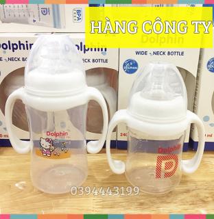 (Tặng 1 Núm) Bình Sữa Cổ Rộng Có Tay Cầm 180ml 240ml Dolphin Dp019AB thumbnail