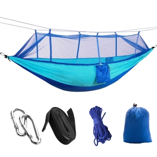 Camping Hammock with Mosquito Hammock Lightweight Parachute Fabric Travel Bed for Hiking, Backpacking, Backyar thumbnail