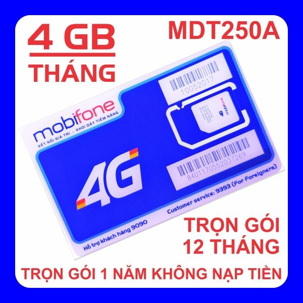 Giá Sim 4G MobiFone trọn gói 1 năm không nạp tiền MDT250A