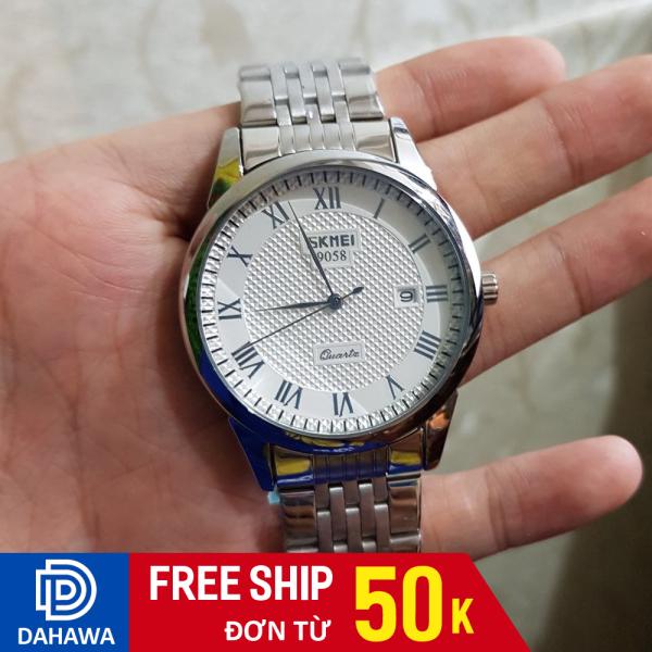 Đồng hồ nam SKMEI 9058, dây thép không gỉ chắc chắn, chống nước 30m, phù hợp đi làm, máy chạy 3 kim, bảo hành 12 tháng bán chạy
