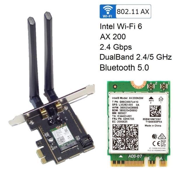 Giá Card WiFi Intel AX200 802.11ax (2400Mbps) Wi-Fi 6, Bluetooth 5.0 khe PCIe-1x cho Máy Bàn - PC
