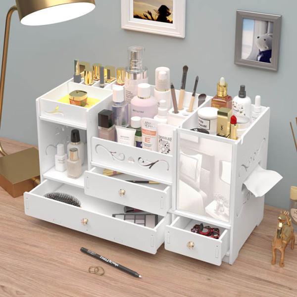 Kệ đựng mỹ phẩm hộp đựng mỹ phẩm kệ trang điểm để bàn tủ hộp đựng đồ trang điểm bằng gỗ màu trắng sang trọng