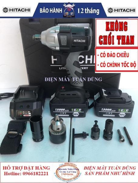 Máy siết bulong Hitachi 2 TRONG 1 88V 2 pin 15000mAh không chổi than 4 chức năng- Tặng bộ đầu chuyển đổi thành 4 chức năng