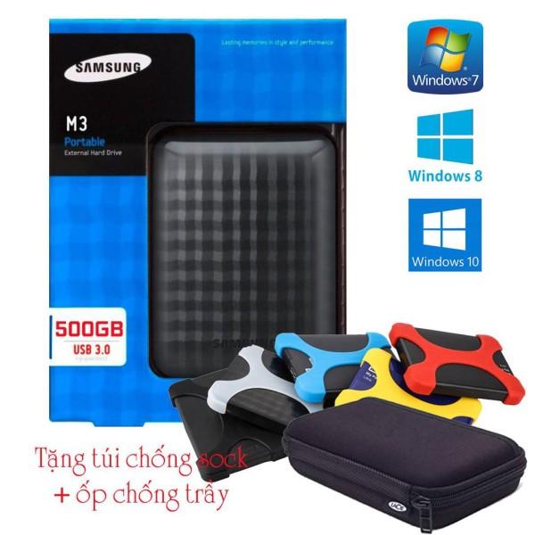 Bảng giá [HCM]Ổ cứng di động Samsung M3 Portable 500GBTặng (Túi chống sốc + Ốp chống trầy) Phong Vũ