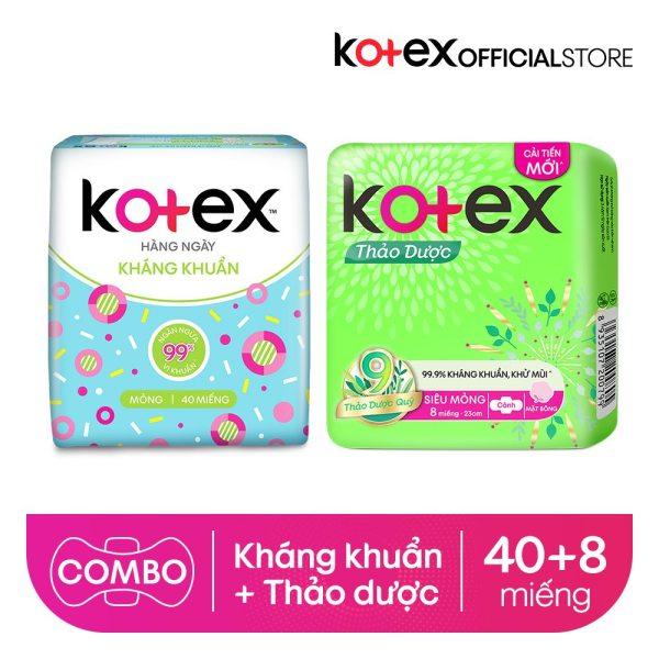 Combo BVS Kotex hằng ngày kháng khuẩn + Thảo dược siêu mỏng cánh giá rẻ