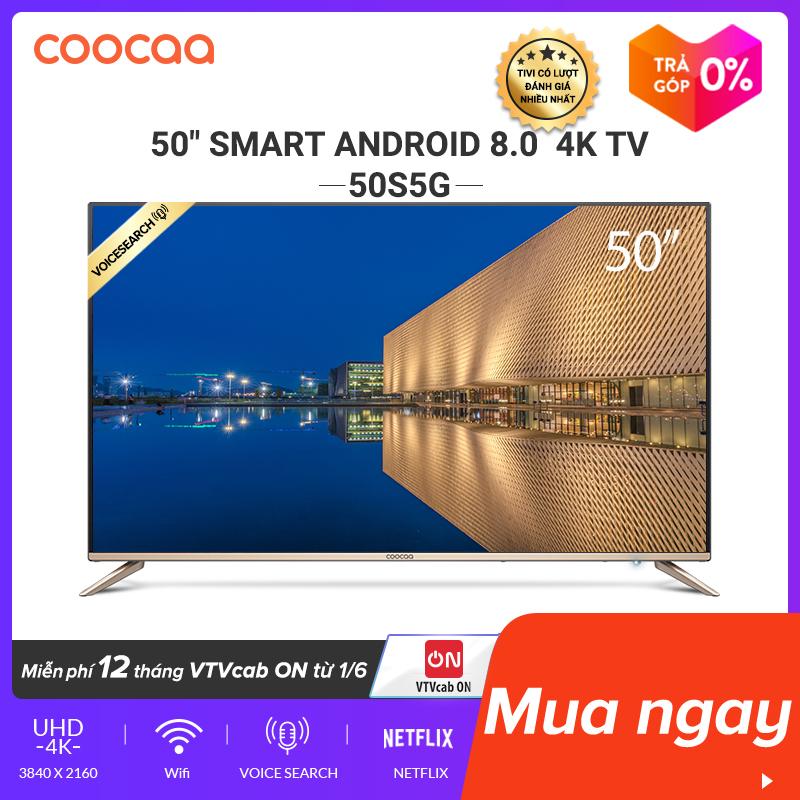 SMART TV 4K UHD Coocaa 50 inch - Android TV - Wifi - viền mỏng - Model 50S5G (Vàng) - 49 tivi giá rẻ Chân viền kim loại