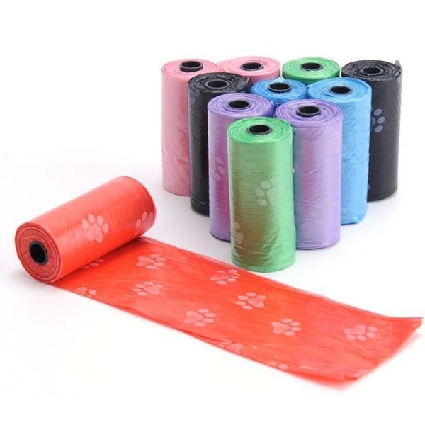 Combo 5 cuộn túi nilon đựng phân chất thải chó mèo tự phân hủy( 15 túi/cuộn) đảm bảo chống thấm nước so với cách đóng thùng giấy thông thường