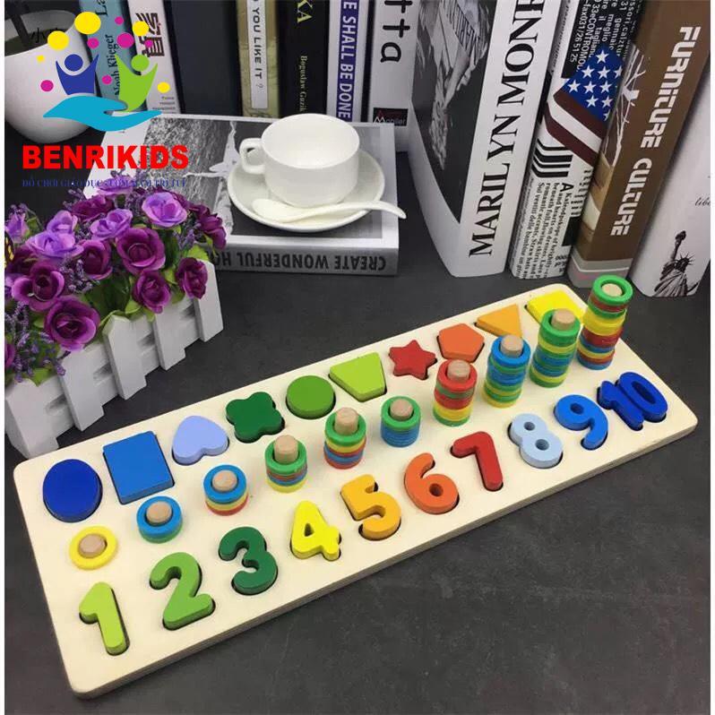 Giáo Cụ Montessori Cột Tính Học Đếm Và Hình Khối...