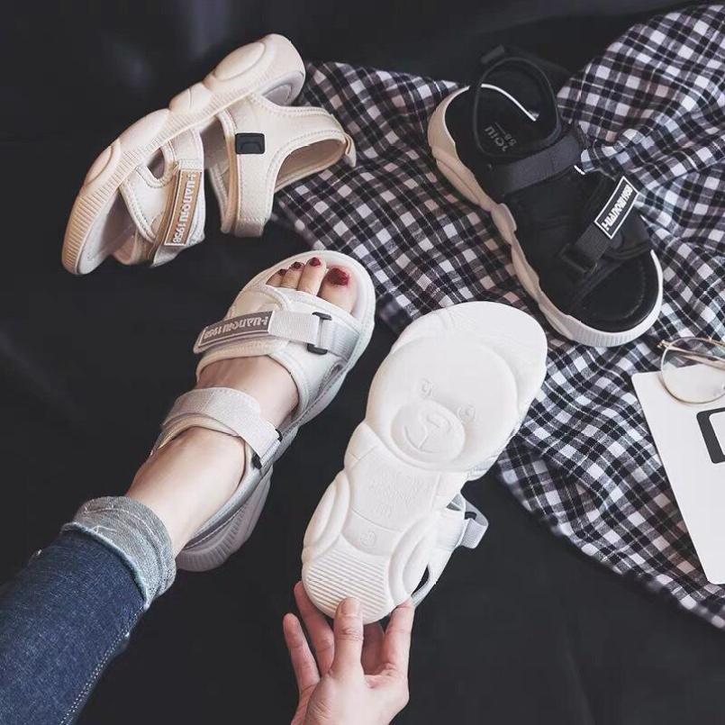 sandal nữ đế gấu 3 màu ( trắng+kem+đen) giá rẻ