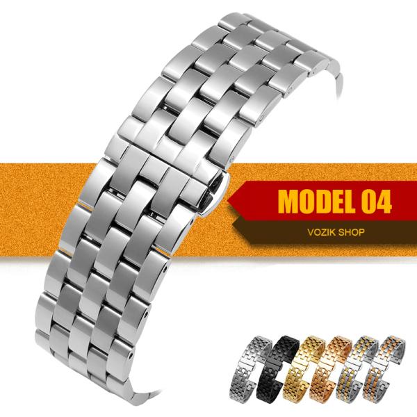 Nơi bán (size 20mm) Dây đồng hồ thép không gỉ inox model 04 khóa bấm chống han gỉ chống bay màu