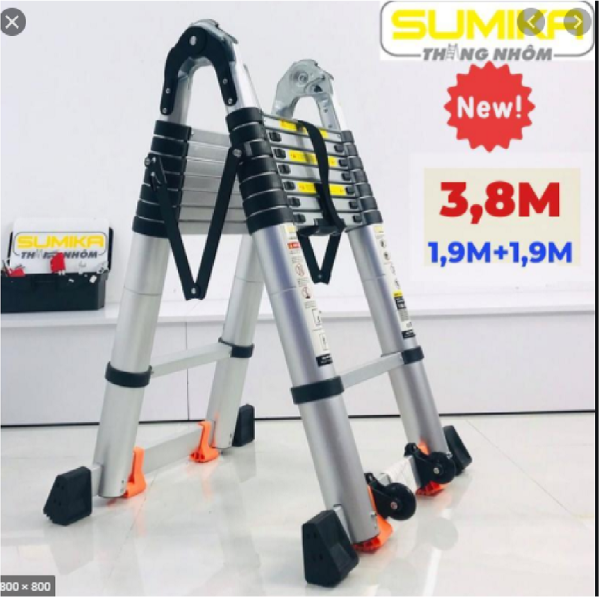 Thang nhôm rút đôi SUMIKA SK 380D New 2020 Chữ A 1m9  duỗi thẳng 3m8 ( màu bạc ) dễ dàng xếp gọn, An toàn – Tiện lợi – Tiết kiệm ,2x6 bậc, tải trọng 300kg,nút cao su chống trượt,khóa chống lắc.