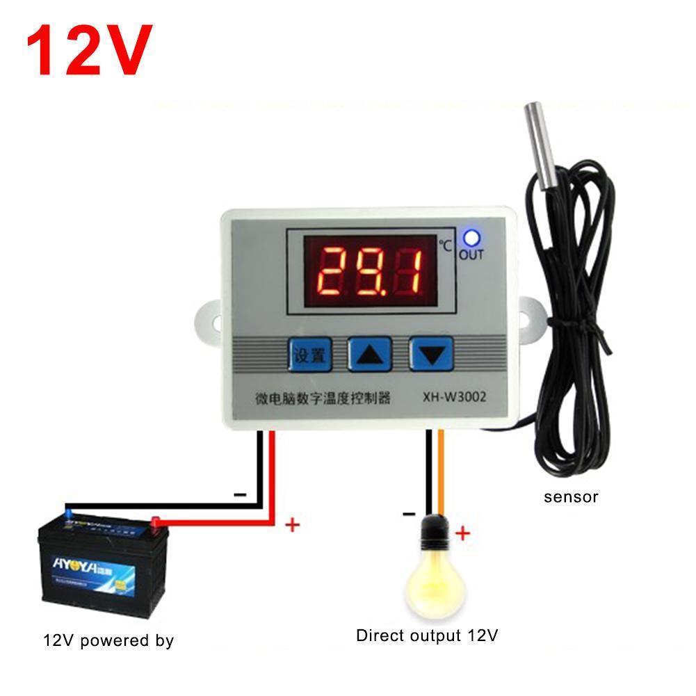 12V 220V Digital LED Temperature Controller Thermostat Control Switch Probe