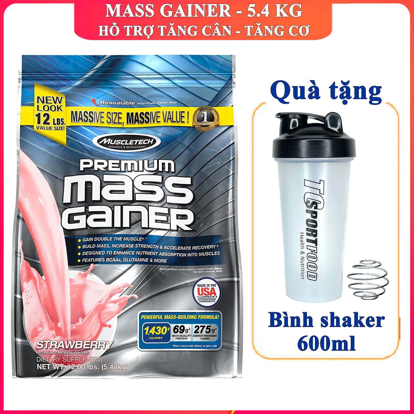 [TẶNG BÌNH LẮC] Sữa tăng cân tăng cơ Premium Mass Gainer của MuscleTech bịch 5.4 kg dễ hấp thu không kén người dùng có enzym tiêu hóa cho người gầy kén ăn khó hấp thu - thực phẩm bổ sung