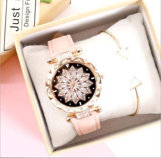 [MIỄN PHÍ GIAO HÀNG] Đồng hồ nữ dây da mặt hoa đính đá kim sa siêu dễ thương chính hiệu CVTR, tặng hộp và pin dự phòng, bảo hành 2 năm thumbnail